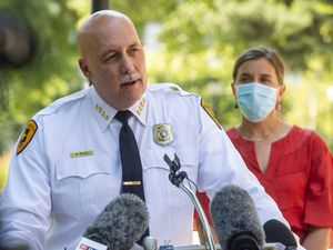 (Rick Egan  |  The Salt Lake Tribune)    Salt Lake City Police Chief Mike Brown speaks during a news conference at City Hall on Monday, Aug. 3, 2020.