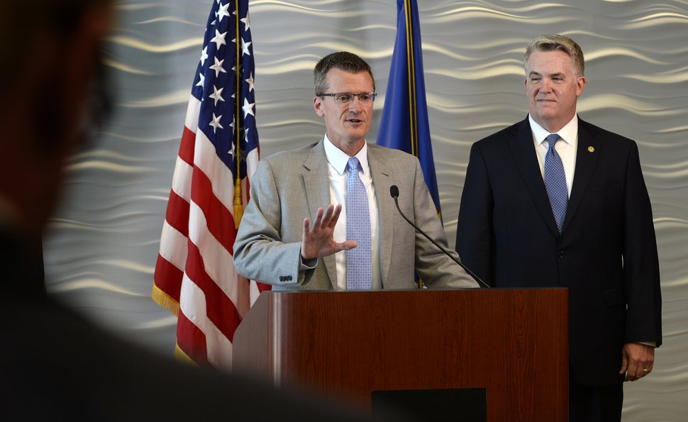 Scott Sommerdorf | The Salt Lake Tribune FBI Special Agent in Charge Eric Barnhart and US Attorney for Utah John Huber speak at a press conference about the arrest of FLDS Church Leader Lyle Jeffs, Thursday, June 15, 2017. Jeffs was arrested Wednesday night in South Dakota.