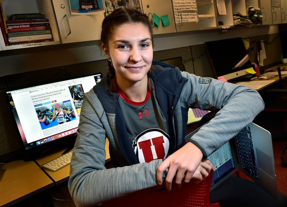 (Scott Sommerdorf | The Salt Lake Tribune) Utah senior star basketball player Emily Potter poses in the newsroom of the Utah Daily Chronicle, Wednesday, November 29, 2017. Potter will leave the U with several school records and a shot at the WNBA. She's also a journalism major and works on the sports staff at the Daily Utah Chronicle as a beat writer.