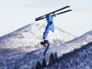 (Rick Bowmer   AP) Ashley Caldwell competes during qualifying in the World Cup women's freestyle aerials skiing event, Saturday, Feb. 6, 2021, at Deer Valley.