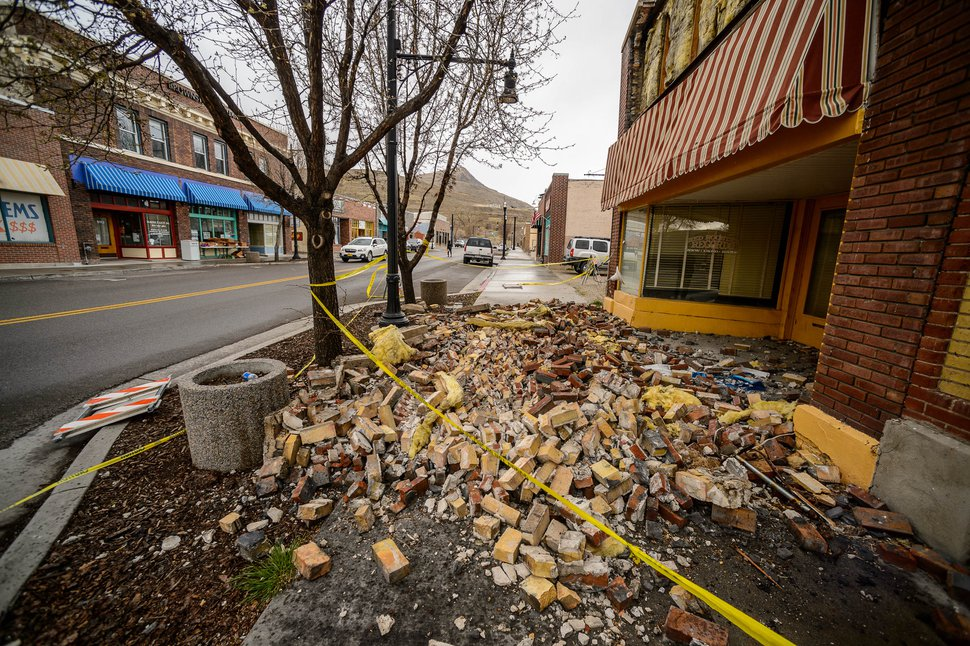 (Trent Nelson | The Salt Lake Tribune) Bricks that fell from the facade of Red Rooster Records in Magna after last week's earthquake, as seen on Tuesday, March 24, 2020.