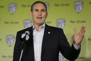 FILE - In this Oct. 12, 2017, file photo, Commissioner Larry Scott gestures while speaking about the formation of a task force on recruitment issues during NCAA college basketball Pac-12 media day, in San Francisco. Top leaders from the major professional sports leagues and individual franchises are looking at ways to avoid the kinds of sexual misconduct scandals that have rocked politics and the entertainment industry. The Anti-Defamation League's new Sports Leadership Council, chaired by Pac-12 Conference Commissioner Larry Scott and also featuring key civil rights activists and women's sports advocates and representatives, held its first meeting last week in New York. In attendance were NFL Commissioner Roger Goodell and Major League Baseball Commissioner Rob Manfred, NCAA President Mark Emmert along with other top leaders such as Big East Commissioner and former WNBA President Val Ackerman, various pro sports owners and team presidents.(AP Photo/Eric Risberg, File)