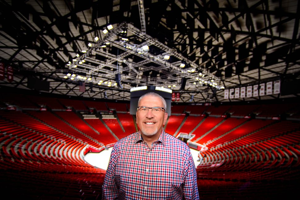 (Trent Nelson | The Salt Lake Tribune) Steve Pyne at the Huntsman Center in Salt Lake City on Monday July 8, 2019. The Huntsman Center turns 50 this year and Pyne has worked in the building for 40 of those years.