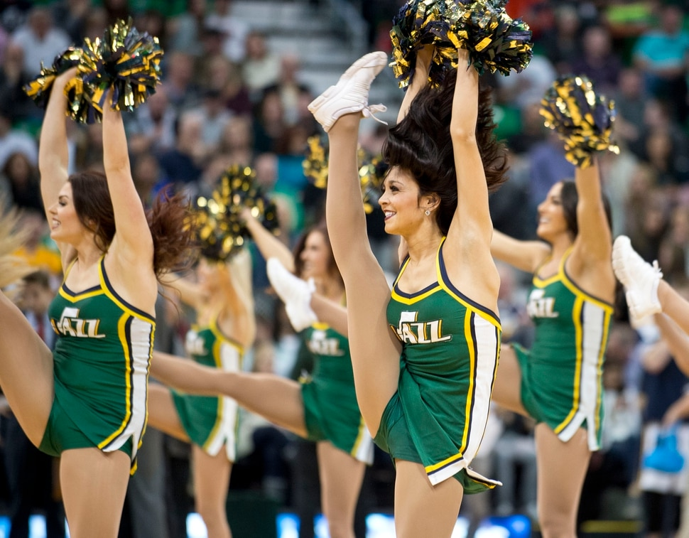 Lennie Mahler | The Salt Lake Tribune Jazz dancers perform during timeout in a game between the Utah Jazz and the Los Angeles Lakers at Vivint Smart Home Arena in Salt Lake City, Saturday, Jan. 16, 2016.