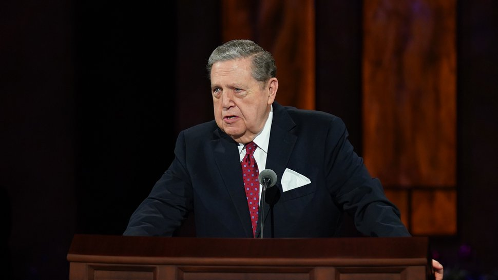 (Photo courtesy of The Church of Jesus Christ of Latter-day Saints) Apostle Jeffrey R. Holland speaks Sunday afternoon at General Conference on Oct. 4, 2020.