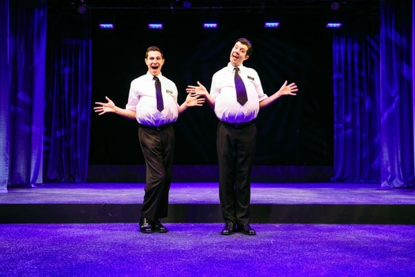 | Courtesy Actors Hayden Warzek with Jaron Barney as LDS missionaries in the 2014 edition of Salt Lake Acting Company's