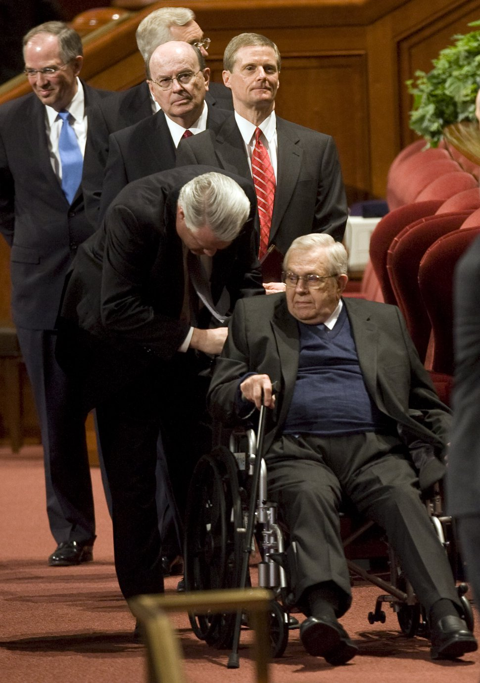 Kim Raff | The Salt Lake Tribune Boyd K. Packer, of the Quorum of the Twelve Apostles, is helped out of the conference center after the early session of the 182nd Annual General Conference of The Church of Jesus Christ of Latter-day Saints on April 1, 2012.