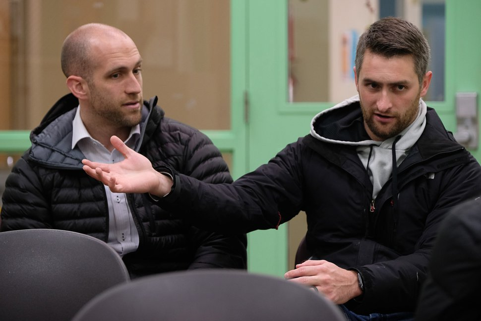 (Francisco Kjolseth | The Salt Lake Tribune) Mark Weaver, left, and Blake Kohler, developers and co-founders of Pulse for Good, a Utah-based company that seeks to gain input from the homeless community to better serve them, talk about starting the program on Wednesday, Dec. 18, 2019. The American Civil Liberties Union recommends policy decisions come with considerable input from people experiencing homelessness, who are best positioned to offer a sense of how the community will be affected. Catholic Community Services is one organization that is seeking that input, through the surveys at kiosks at the Weigand Center and its new homeless resource center in Salt Lake City. The surveys ask about service, cleanliness and what people would like to see at its locations.