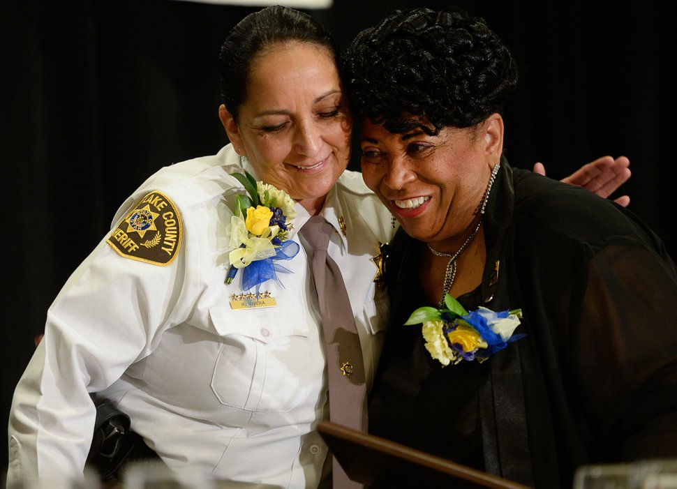 (Francisco Kjolseth | The Salt Lake Tribune) Salt Lake County Sheriff Rosie Rivera is embraced by Jeanetta Williams, president of the NAACP Salt Lake Chapter, after receiving the Rosa Parks Award during the Martin Luther King Jr. Memorial Luncheon at Little America Hotel on Monday, Jan. 20, 2020.