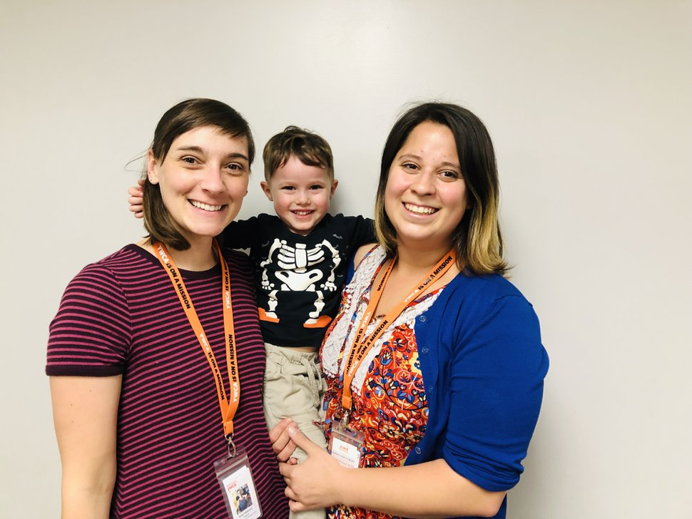 (Marina Gomberg | The Salt Lake Tribune) Young Harvey Gomberg with his teachers at the YWCA, Kristi Peterson (left) and Allie Menzdorf. Though Harvey calls them Miss Kristi and Miss Allie.