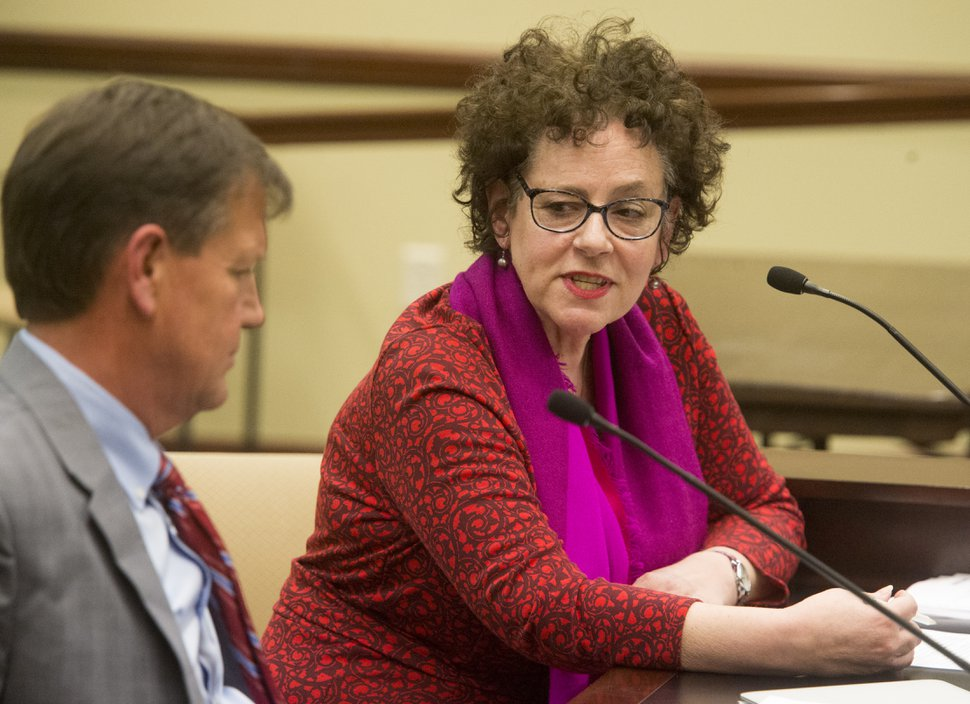 (Rick Egan | The Salt Lake Tribune) Heather Bennett President of the Salt Lake City Board of Education speaks out against HB 175, the oversight committee creation bill, during the House Government Operations Standing Committee, Thursday, February 1, 2018.