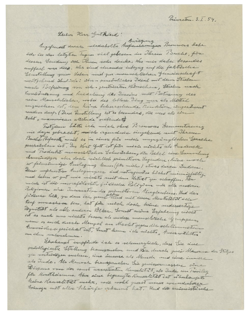 This undated photo provided by Christie's shows the first page of Albert Einstein's