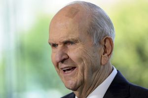 (Rick Bowmer | AP photo)  In this April 19, 2019, photo, Church of Jesus Christ of Latter-day Saints President Russell M. Nelson speaks during a news conference at the Temple Square South Visitors Center in Salt Lake City. Nelson called on members Friday to flood social media over Thanksgiving week with messages of gratitude in what he hopes will serve as a healing tool as the world grapples with the coronavirus pandemic, racism and a lack of civility.
