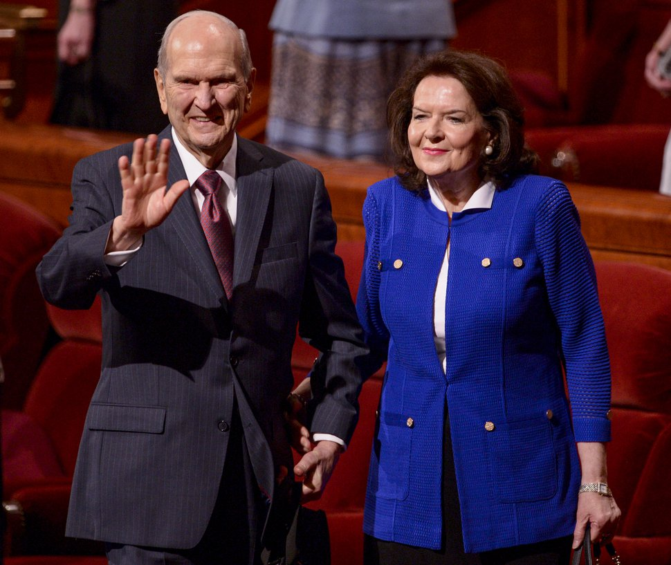 (Leah Hogsten | The Salt Lake Tribune) President Russell M. Nelson and his wife, Wendy, wave to the crowd at the close of the 189th Annual General Conference of The Church of Jesus Christ of Latter-day Saints, April 6, 2019, in Salt Lake City.