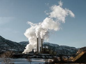 FILE -- Steam billows from the coal-powered Huntington Power Plant in Huntington, Utah, Feb. 7, 2019. About half of the premature deaths caused by poor air quality are linked to pollutants that blow in from other states, a new study found. (Brandon Thibodeaux/The New York Times)
