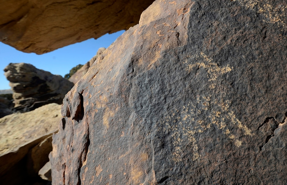 (Al Hartmann | The Salt Lake Tribune) Fremont rock art of antelope in the jumbled sandstone caprock in the Molen Reef area of the San Rafael Swell. A series of oil and gas leases offered by the BLM could threaten parts of Molen Reef an area that rock art enthusiasts say is ripe with pictographs and other cultural artifacts.