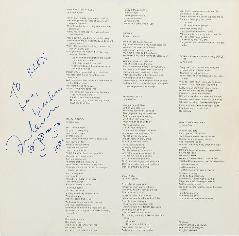 (Photo courtesy of Heritage Auctions/HA.com) The inner sleeve of a promo copy of the John Lennon/Yoko Ono album