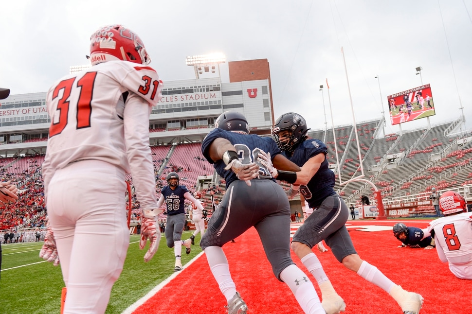 (Leah Hogsten   The Salt Lake Tribune) Corner CanyonÕs John Glavin scores a touchdown. Corner Canyon High School takes on American Fork High School during the 6A State Championship football title, Nov. 22, 2019 at Rice-Eccles Stadium.