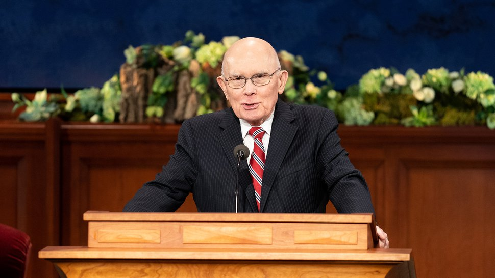 (Photo courtesy of The Church of Jesus Christ of Latter-day Saints) Dallin H. Oaks, first counselor in the governing First Presidency, conducts the opening General Conference session April 4, 2020.
