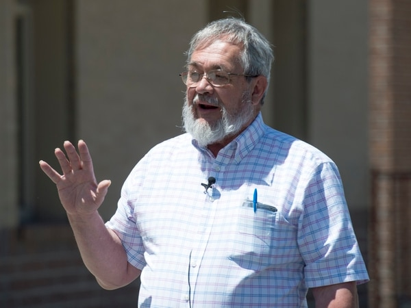 (Rick Egan | The Salt Lake Tribune) Charles Talcott, a member of First Step's Board of Directors talks to reporters before a news conference announcing the new employment program at the First Step House, with KeyBank Foundation and Salt Lake County Housing and Community Development, Friday, June 29, 2018.