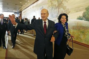 President Russell M. Nelson leaves with his wife Wendy Nelson following a news conference announcing his new leadership in the wake of the death of President Thomas S. Monson Tuesday, Jan. 16, 2018, in Salt Lake City. (AP Photo/Rick Bowmer)