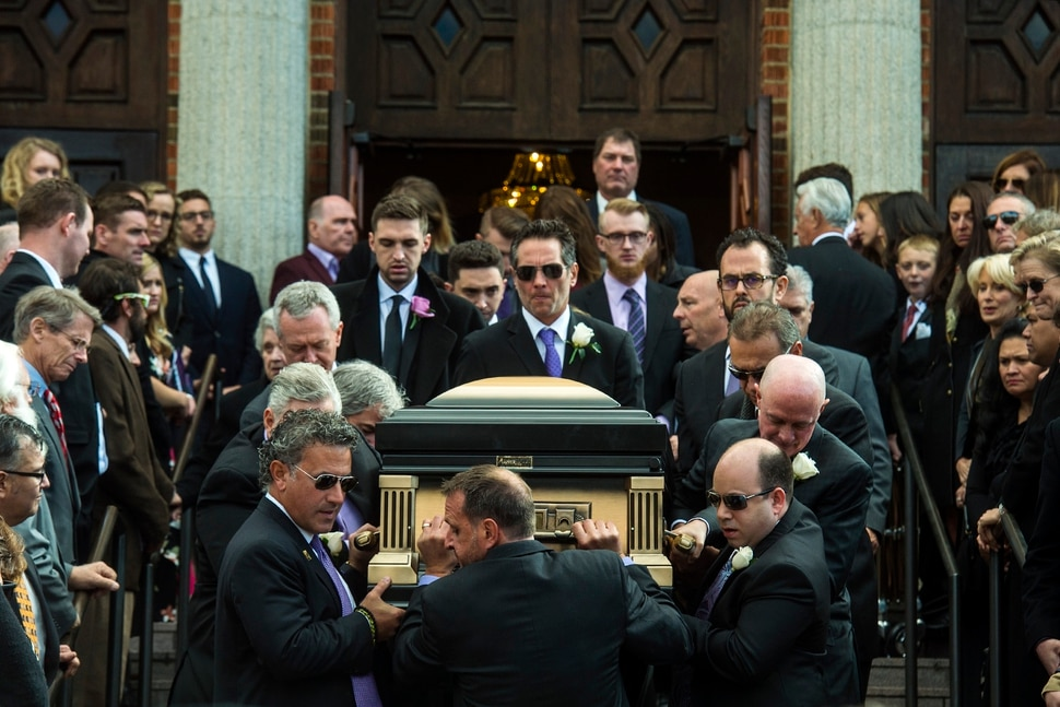 (Chris Detrick | The Salt Lake Tribune) Pallbearers carry the casket of Vasilios Priskos during his funeral service at the Holy Trinity Cathedral in Salt Lake City Saturday, October 14, 2017. Vasilios Priskos, an immigrant who helped shape the development of downtown Salt Lake City through his extensive real estate holdings, died Monday after a lengthy battle with cancer. He was 53.