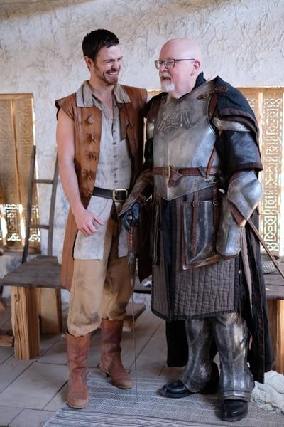"(Photo courtesy Doug Pasko) ""Outpost"" star Jake Stormoen and Salt Lake Tribune TV critic Scott D. Pierce on the set of the show in Springville."