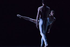 "(Courtesy photograph by Beau Pearson) Allison DeBona, Ballet West first soloist, and Chase O'Connell, principal artist, in Africa Guzmán's ""Sweet and Bitter."""