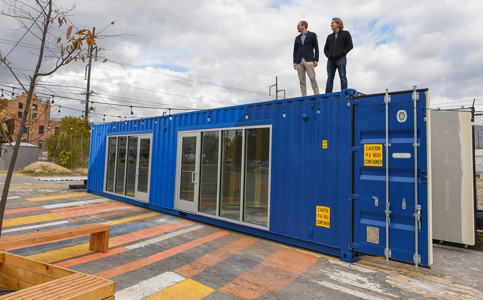 (Francisco Kjolseth | The Salt Lake Tribune) Looking to activate a space before it goes full scale, Michael Yount, left, and Tim Sullivan, founders of a small Salt Lake City company called Little City are offering shipping containers as repurposed spaces for doing business. The two set up a pop-up project demonstrating the idea called FLEET, near the northwest corner of Fleet Block, an RDA-owned parcel bounded by 800 and 900 South and 300 and 400 West.
