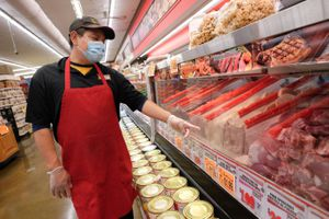 (Francisco Kjolseth  |  The Salt Lake Tribune) Butcher Rosendo Chazares discusses all the sanitary precautions taking place at Rancho Markets as the stores to navigate the coronavirus pandemic, including the 140 N. 900 West location in Salt Lake City on Friday, August 14, 2020.