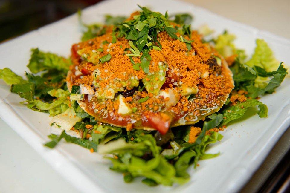 (Trent Nelson | The Salt Lake Tribune) The labneh pizza at Rawtopia Living Cuisine.
