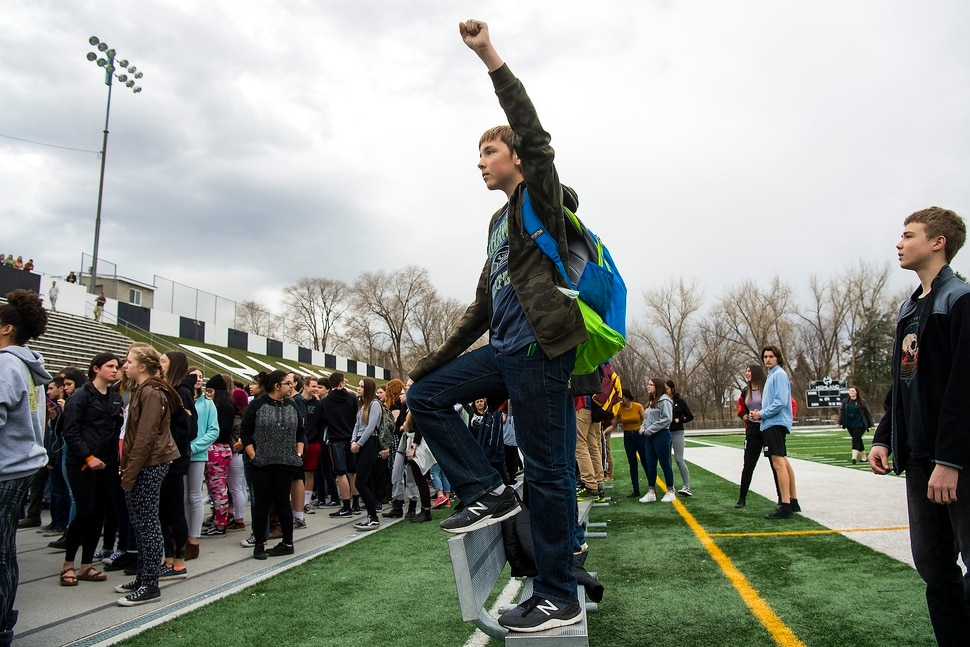 (Chris Detrick | The Salt Lake Tribune) Freshman Ben Malovich participates in a nationwide demonstration for better gun safety laws at Highland High School in Salt Lake City Thursday, March 15, 2018. Students at more than 30 schools along the Wasatch Front, nearly all of them high schools, particiapted in the 17-minute walkout — one minute for each of the Florida students killed.