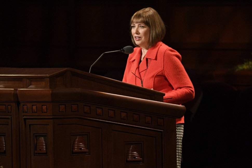 (Photo courtesy of The Church of Jesus Christ of Latter-day Saints) Cristina B. Franco is the second counselor in the Primary general presidency. She addresses the worldwide congregations during the Sunday morning session of the 189th Semiannual General Conference Oct. 6, 2019.