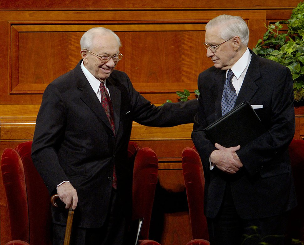 (Trent Nelson | Tribune file photo) Church President Gordon B. Hinckley, left, and counselor James E. Faust at General Conference in April 2004.