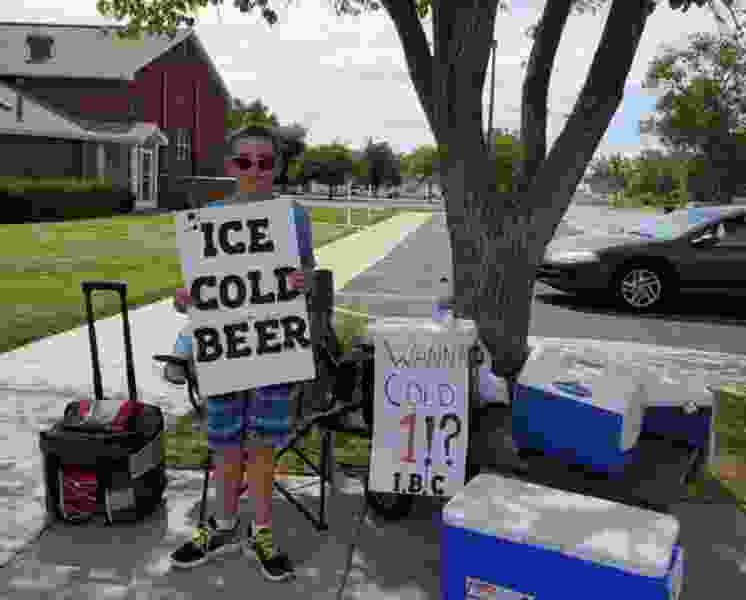 Brigham City boy advertises 'Ice Cold Beer' at root beer stand