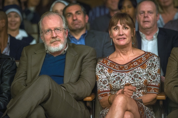 This image released by A24 Films shows Tracy Letts, left, and Laurie Metcalf in a scene from