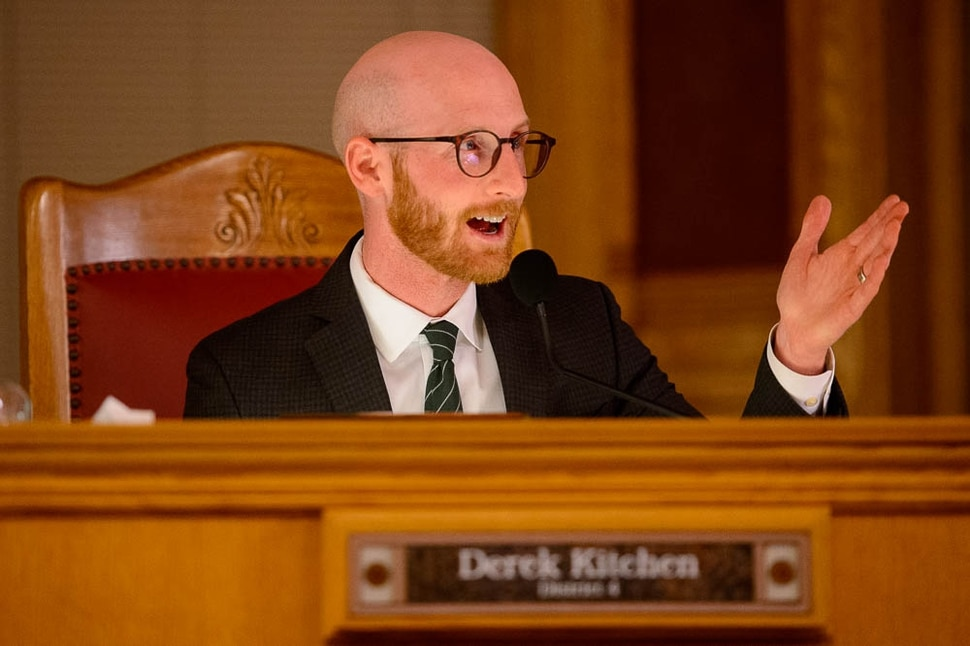 (Trent Nelson | The Salt Lake Tribune) Outgoing Salt Lake City Council Member Derek Kitchen gives his farewell marks at the council meeting on Tuesday Nov. 27, 2018.