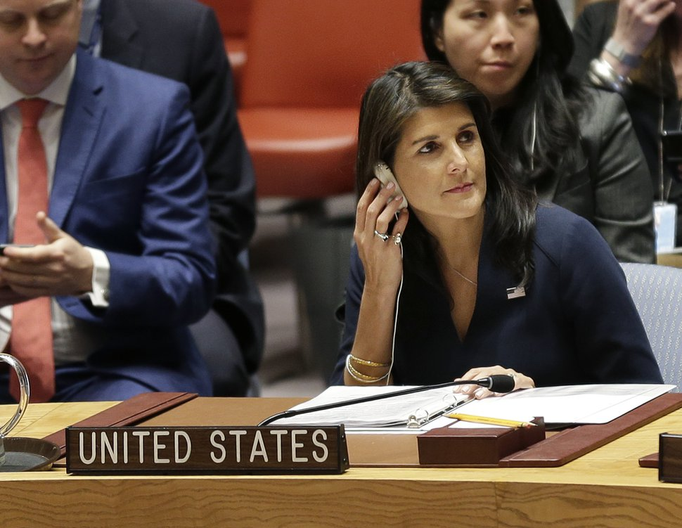United States Ambassador to the United Nations Nikki Haley attends a Security Council meeting at United Nations headquarters, Thursday, April 19, 2018. (AP Photo/Seth Wenig)