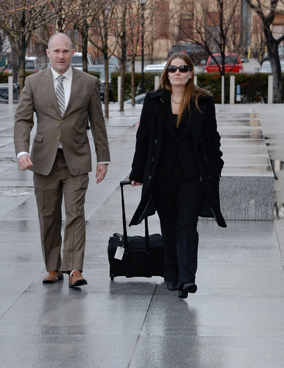 (Francisco Kjolseth | The Salt Lake Tribune) Tyler Hatcher, assistant special agent in charge of IRS Criminal Investigations and Leslie Goemaat, special assistant U.S. attorney, arrive for the final day of jury selection at the federal courthouse in Salt Lake City, Wednesday, Jan. 29, 2020, in the trial of Lev Dermen, who is charged with 10 felonies related to fraud at Washakie Renewable Energy.