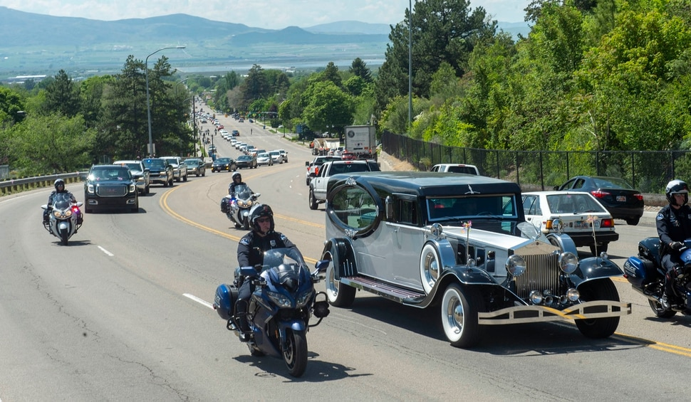 (Rick Egan | The Salt Lake Tribune) The hearse follows the funeral procession for five-year-old Elizabeth Shelley up highway 89 to the Logan Cemetery. Elizabeth was allegedly killed by her uncle in Logan last week. Tuesday, June 4, 2019.