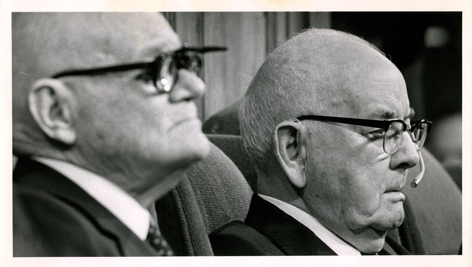 | Tribune file photo Spencer W. Kimball, right, president of The Church of Jesus Christ of Latter-day Saints, with counselor Marion G. Romney, presides over a session of General Conference in October 1978, when members approved an end to the priesthood ban.