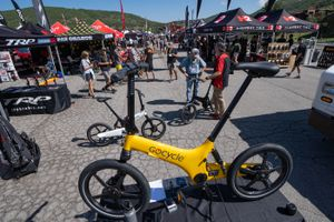 (Francisco Kjolseth | The Salt Lake Tribune) The Gocycle electric bicycle with pedal assist and a throttle draws attention during The The Big Gear Show, a new outdoor convention that's in its first year, sets up at the base of Deer Valley Resort for a 3-day event on Tuesday, Aug. 3, 2021.