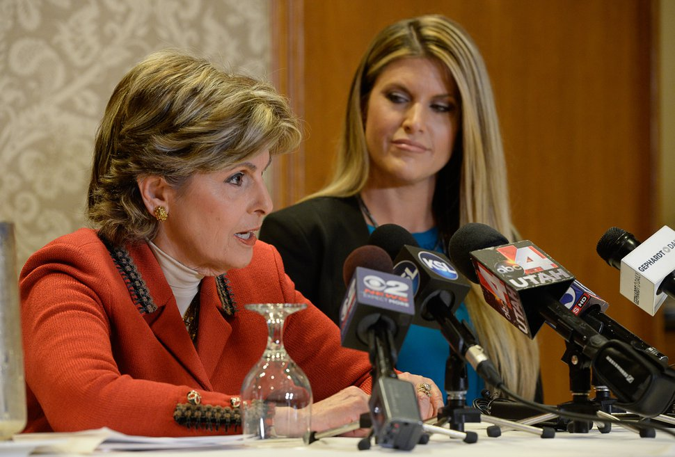 Francisco Kjolseth | The Salt Lake Tribune Temple Taggart, a former Miss Utah, joins her lawyer, Gloria Allred, to talk about Donald Trump and his unwanted advances during a press conference at the Little America Hotel in Salt Lake City on Friday, Oct. 28, 2016.