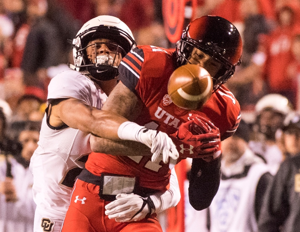 (Rick Egan | The Salt Lake Tribune) Colorado Buffaloes defensive back Isaiah Oliver (26) breaks up a pass intended for Utah Utes wide receiver Raeloe Singleton (11) in PAC-12 football action Utah Utes vs.Colorado Buffaloes at Rice-Eccles stadium, Saturday, November 25, 2017.