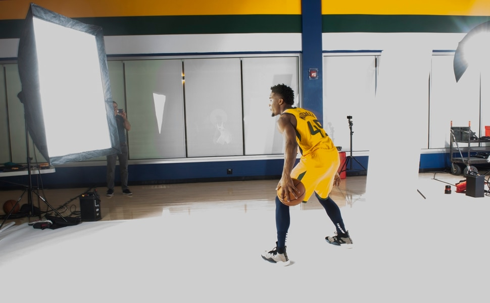 (Rick Egan | The Salt Lake Tribune) Donovan Mitchell poses for the camera, during the Utah Jazz annual Media Day photo shoot, Monday, Sept. 24, 2018.
