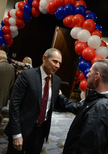 (Francisco Kjolseth   The Salt Lake Tribune) John Curtis, Republican candidate for 3rd Congressional District awaits election results as he meets with supporters during his election night watch party at the Provo Marriott Hotel & Conference Center Tuesday, Nov. 7, 2017. The winner of the November special election will fill the congressional seat recently vacated by Jason Chaffetz.