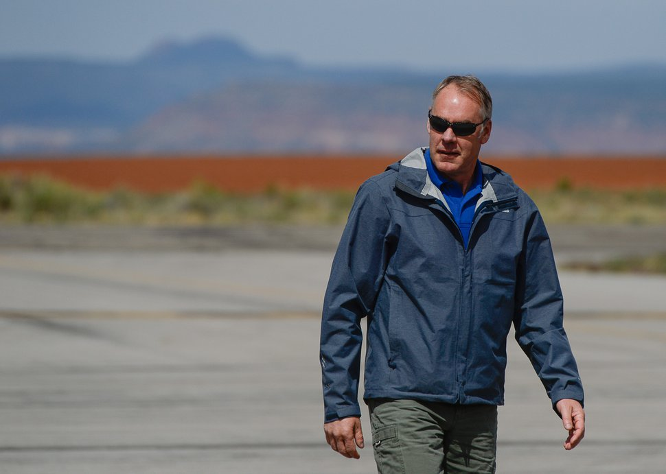 Francisco Kjolseth | The Salt Lake Tribune Interior Secretary Ryan Zinke arrives at the Blanding airport on Monday, May 8, 2017, for an aerial tour of the recently designated Bears Ears National Monument in southeastern Utah by President Barack Obama on Dec. 28, 2016.