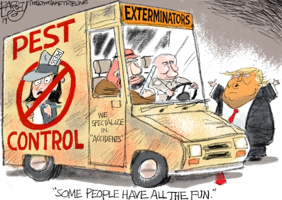 (Pat Bagley | The Salt Lake Tribune) This Pat Bagley cartoon, titled Press Control, appears in The Salt Lake Tribune on Sunday, June 30, 2019.