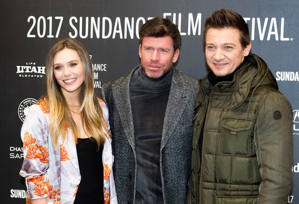 Rick Egan | The Salt Lake Tribune Elizabeth Olsen, Taylor Sheridan and Jeremy Renner at the Eccles Theatre for the world premiere of ÒWind RiverÓ at the 2017 Sundance Film Festival in Park City, Saturday, January 21, 2017.