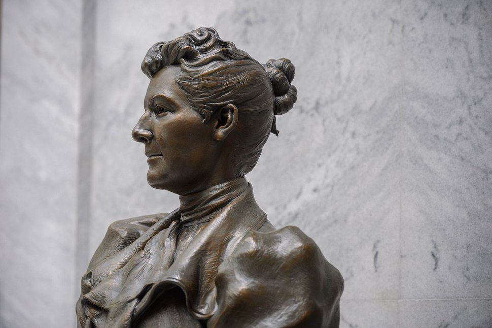 (Trent Nelson | The Salt Lake Tribune) A statue of Martha Hughes Cannon was unveiled at the State Capitol in Salt Lake City on Monday, Sept. 14, 2020. The piece will temporarily be on display in the Utah State Capitol until COVID-19 restrictions allow for a ceremony in Washington, D.C.